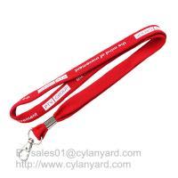 China Tube polyester lanyard with metal sheet crimping, 3/8 inch tubular neck straps on sale