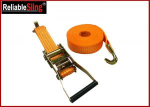 Quality Yellow Ratchet Tie Down Strap 3000lbs Rated Capacity with Flat Snap Hooks for sale