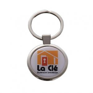 China Round-shape custom metal keyrings with printed dome stickers for corporate promotion on sale