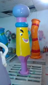 China 1.8 m Cartoon Fiberglass Pencil Spray Water Park Cute Purple For Kids on sale