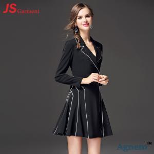 China JS 37 Wholesale Fashion High Waist Long Sleeve V-neck Women One Piece Dress on sale