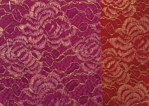 China Red Golden Embroidery Sequin Lingerie Lace Fabric For Wedding Dress , Decoration Lace Fabric on sale