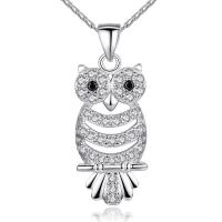Bulk Retro Owl Necklace Pendant Charms With AAA Austrian Zircon White Gold Color