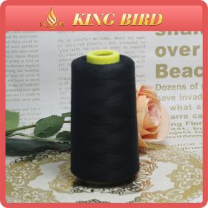 China Spun Polyester Thread For Sewing / Black Machine Thread Smooth And Soft on sale