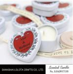 Heart Shaped Travel Tin Soy Candles With Red Printing Logo / One Cotton Wick