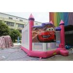 Pink Cars Inflatable Jumping Bounce House With Printing For Toddler