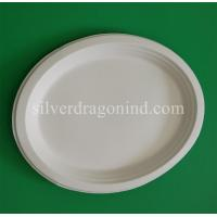 China Biodegradable Disposable Sugarcane Pulp Paper Plate, Oval Plate on sale