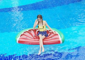 China 0.25mm PVC 180*90cm Red Color Melon Water Inflatable Water Floats Half-Watermelon Float on sale