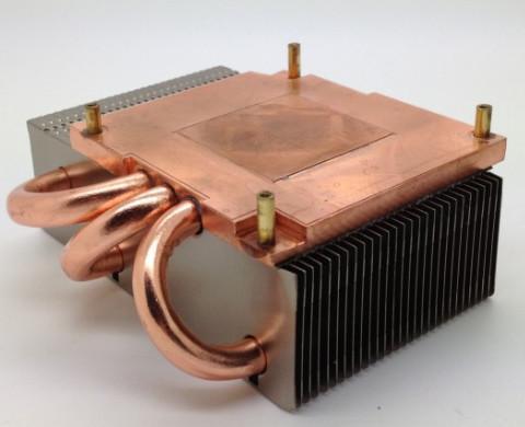 120W Copper Base Plate Aluminum Fin Copper Pipe Heat Sink