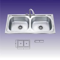 Polished Stainless Steel Sinks For Kitchen , Double Bowl With Draining