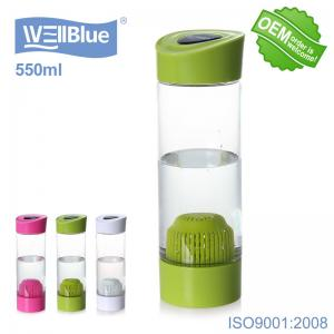 China Green Color Portable Small Alkaline Water Bottle 550ml For Water Filtration supplier