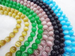 China Beaded Jewellery Colorful Cat Eye Bead, 10mm Semi Precious Stone Beads on sale