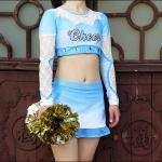 Cool Custom Crystal Soft Cheerleader Costume Uniforms With Mesh And Lace Fabric