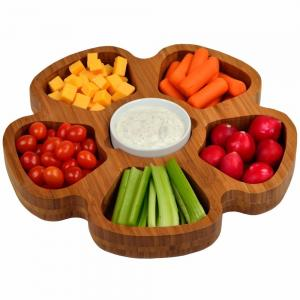 China Multifunction Bamboo Serving Tray 5 In 1 Fruit Platter Contemporary Style on sale