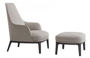 China JANE Fiberglass Lounge Chair Solid Wood Finishing Spessart Oak Base on sale