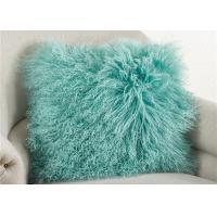 "Warm Genuine Tibetan Mongolian Fur Pillow Mint Green 16""X 16"" For Hotel Decorative"