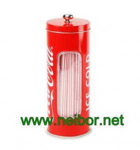 China Distribuidor redondo relativo à promoção da palha da lata com a janela clara do PVC on sale