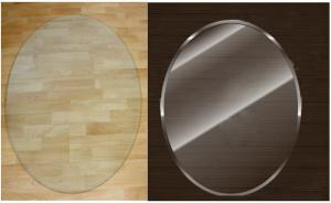 China Fireplaces Oval Glass Hearth Plate Custom Sizes With 18mm Bevel Edges on sale