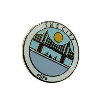 Custom Hard Enamel Pins / Business Lapel Pins With Fresh Style Bridge Pattern