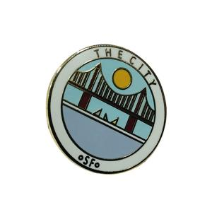 China Custom Hard Enamel Pins / Business Lapel Pins With Fresh Style Bridge Pattern on sale