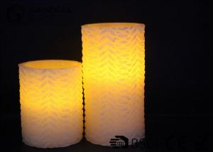 China Home decoration  Real Wax Electronic Candles , Flat  top Carved LED candle on sale