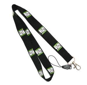 China Detachable Ribbon Cell Phone Plain Black Lanyards With Silk Screen Print Logo on sale