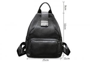 China Casual Vintage Large Womens Backpack Bags , Lady Solid School Black Leather Rucksack on sale