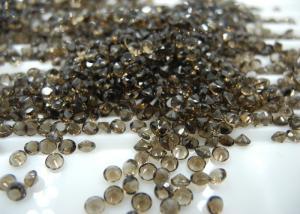 China Diamond Cut Natural Loose Smoky Quartz Precious Gemstones , Jewelry Designs 2mm on sale