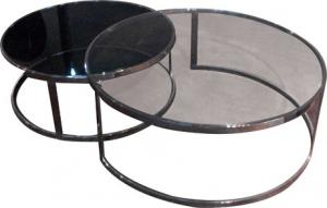 Quality Grey Tempered Glass Coffee Table , Living Room Round Glass End Tables for sale