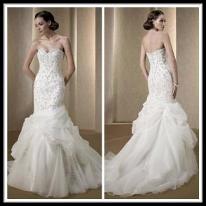 China Vintage 2014 Organza Lace Mermaid Wedding Gowns , Trumpet Bridal Dresses on sale