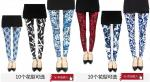 hot sale retro Skinny pants,popular tight pants,Blue & White Porcelain printed leggings
