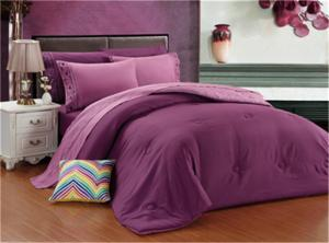 China Comforter Set 3pcs Polycotton Solid Bedding Set Solid Color Comforter Pillow with Embroidery on sale