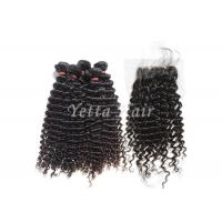 China No Shedding No Tangle Mongolian  8A Virgin Hair With Kinky Curly Lace Closure on sale
