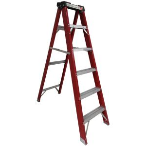 China Fiberglass wide step ladder with tool tray on sale