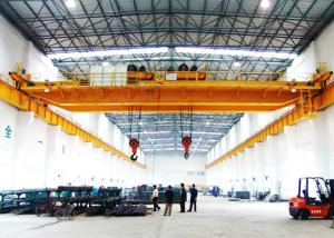 China 30 Ton Twin Trolley Double hook Double Girder Overhead Crane for warehouse on sale