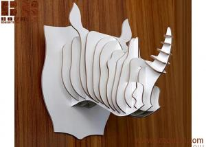 China KD animal head decoration carved wooden rhino from China DIY home wall decoration on sale