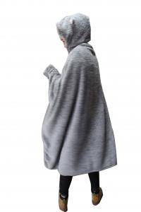 China Fashion Women Flannel Hooded Cape Blanket Embroidery Hat Gloves Eco Friendly on sale