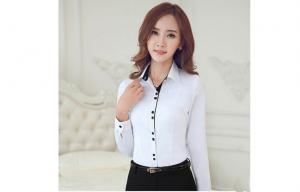 China Corporate Office Wear Winter Cotton Long Sleeves White Womens Business Shirts on sale