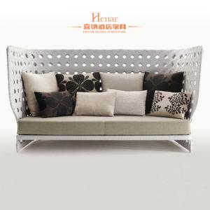 Quality Leisure Modern Rattan Sofa Hotel Lobby Furniture With Fabric Upholstered For