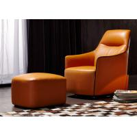 China OEM Bedroom Modern Style Wooden Lounge Chair With Orange Color Leather on sale