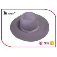 China Light Purple Winter Wool Felt Hat Women With Match Ribbed Band And Sweatband on sale