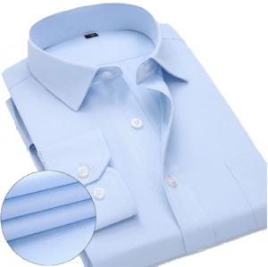 China White / Blue Mens Business Casual Shirts Quick Dry With Pilling Resistance on sale