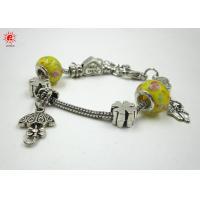 Customized Yellow Glass Bead Charm Bracelets Pandora Ladies Funky Bracelet