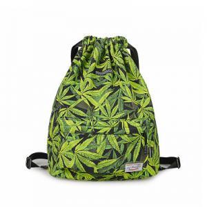 China Drawing Rope Shoulder Bag Marijuana Leaf Backpack Cannabis Weed Bookbag Backpack Waterproof Sports Outdoor Sports Bag on sale
