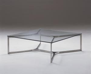 Quality Modern Bending Square Glass Coffee Table , Metal Glass End Table , clear glass table for sale