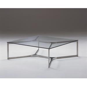 Quality Современный гнуть квадратный стеклянный журнальный стол, таблица конца металла стеклянная, ясный стеклянный стол for sale
