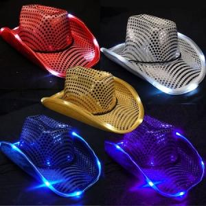 China Neon Flash LED Light Up Hats Glow In Dark Flashing Lighted Cowboy Hats 5 Colors on sale