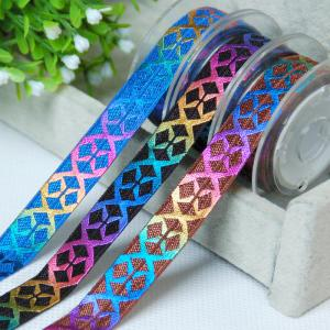 China Colorful Rainbow Gold Stretchy Ribbon For Hair Ties , Gifts Wrapping Flat Elastic Ribbon on sale