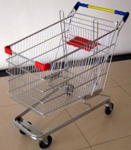 China 100 Liters Supermarket Shopping Cart Multifuntional Wire Trolley With Wheels Germany Type on sale