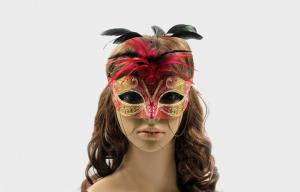 China Ladies Red Lace Veil Mask For Prom , Christmas Masquerade Ball Mask on sale